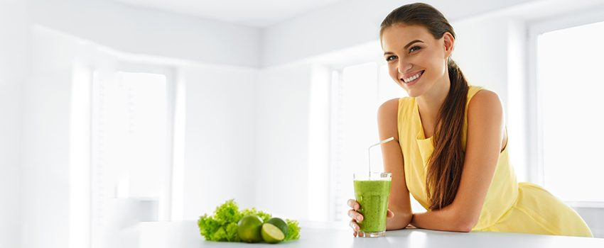 Healthy Meal. Woman Drinking Detox Smoothie. Lifestyle, Food. Dr
