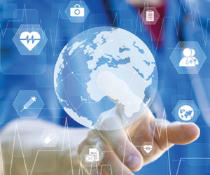 Doctor pressing button map icon healthcare on virtual online pan
